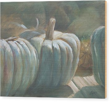 Blue Pumpkins Wood Print by Linda Eades Blackburn