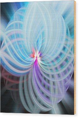 Blue/purple Spere Wood Print by Cherie Duran