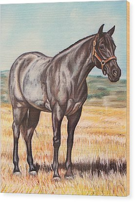 Blue Quarter Horse Wood Print by Lucy Deane