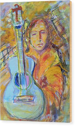 Wood Print featuring the painting Blue Quitar by Mary Schiros