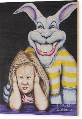 Blue Rabbit Wood Print by Matthew Lake