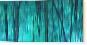 Blue Rain Forest Wood Print by Lucie Lenzket