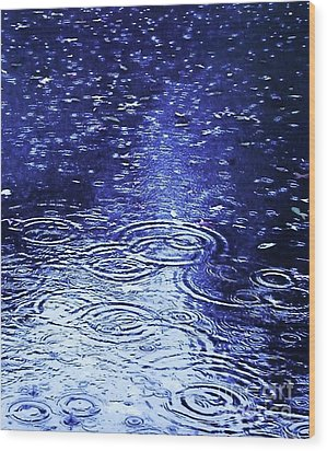Blue Raindrops Wood Print by Maria Scarfone