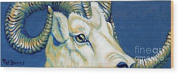 Blue Ram Wood Print by Pat Burns