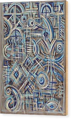 Blue Raucous Wood Print