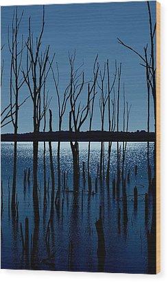 Blue Reservoir - Manasquan Reservoir Wood Print by Angie Tirado