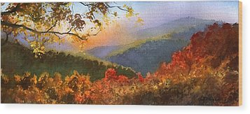 Blue Ridge At Fall Wood Print