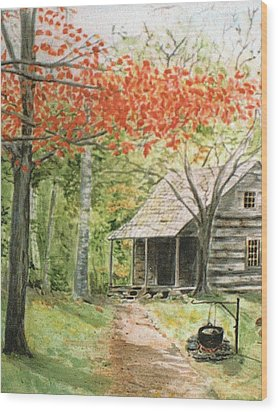 Blue Ridge Cabin Wood Print by Christine Lathrop