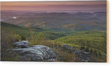 Blue Ridge Dawn Panorama Wood Print by Andrew Soundarajan