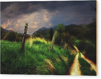 Wood Print featuring the photograph Blue Ridge Mountain Country Road by Gray  Artus