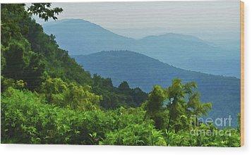 Blue Ridge Mountain Layers Wood Print by Kerri Farley