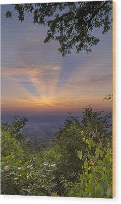 Blue Ridge Mountain Sunset Wood Print by Debra and Dave Vanderlaan
