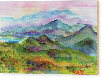Blue Ridge Mountains Georgia Landscape  Watercolor  Wood Print by Ginette Callaway