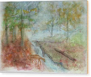Wood Print featuring the painting Blue Ridge Mountains Memories by Doris Blessington