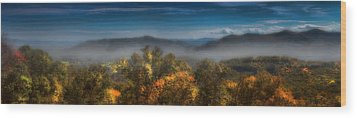 Wood Print featuring the photograph Blue Ridge Panorama by Ellen Heaverlo