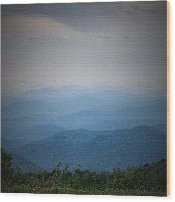 Blue Ridge Parkway Silhouette Wood Print by Jen McKnight