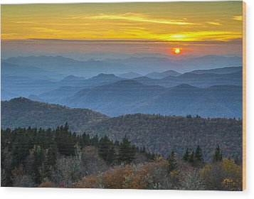 Blue Ridge Parkway Sunset - For The Love Of Autumn Wood Print by Dave Allen