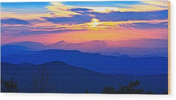 Blue Ridge Parkway Sunset, Va Wood Print by The American Shutterbug Society