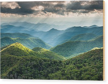 Blue Ridge Southern Appalachian Mountain Light Show Wood Print by Mark VanDyke