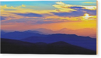 Blue Ridge Sunset, Virginia Wood Print