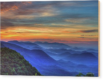 Wood Print featuring the photograph Blue Ridges 2 Pretty Place Chapel View Great Smoky Mountains Art by Reid Callaway
