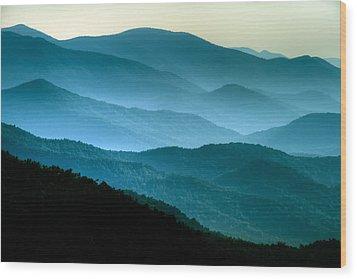 Blue Ridges Wood Print