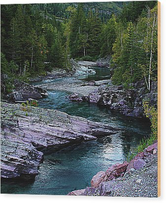 Blue River Wood Print