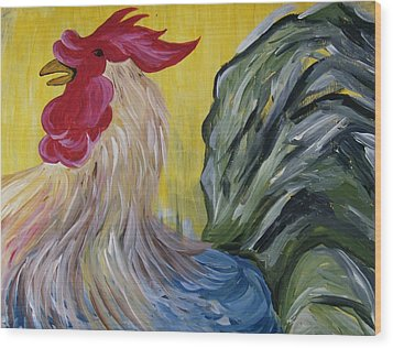 Blue Rooster Wood Print by Leslie Manley