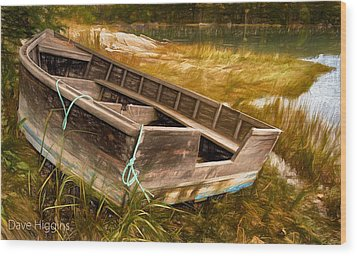 Blue Rope, Barter's Island, Maine Wood Print by Dave Higgins