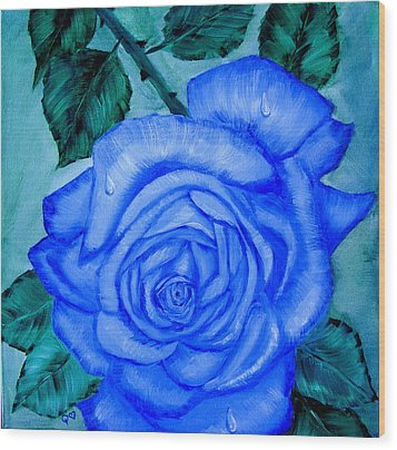 Blue Rose Wood Print by Quwatha Valentine