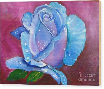 Blue Rose With Dew Drops Wood Print