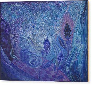 Blue Rosebud Ballroom Wood Print by Adria Trail