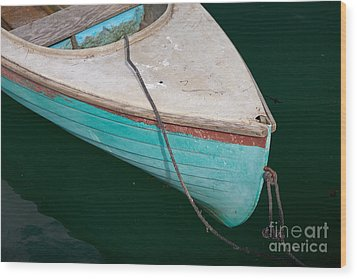 Blue Rowboat 1 Wood Print by Susan Cole Kelly