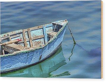 Blue Rowboat At Port San Luis 2 Wood Print