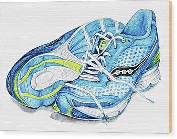 Blue Running Shoes Wood Print by Heidi Kriel