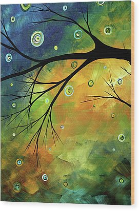 Blue Sapphire 2 By Madart Wood Print by Megan Duncanson