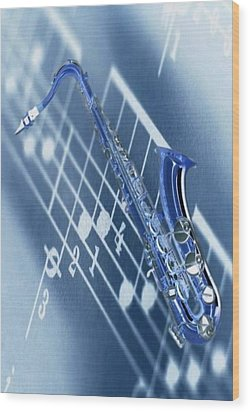 Blue Saxophone Wood Print by Norman Reutter