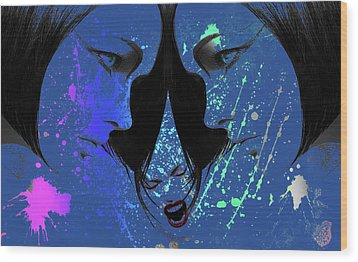 Wood Print featuring the digital art Blue Screamer by Greg Sharpe