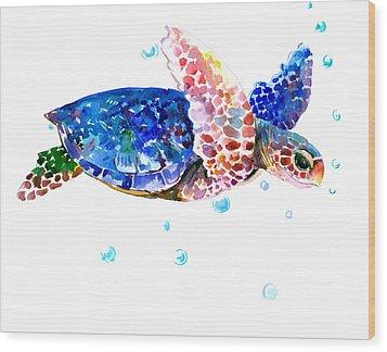 Blue Sea Turtle Wood Print