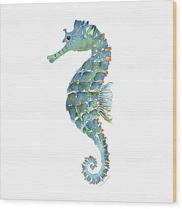 Blue Seahorse Wood Print by Amy Kirkpatrick