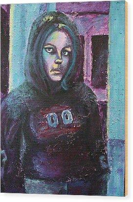 Blue Self Portrait Wood Print by Sarah Crumpler