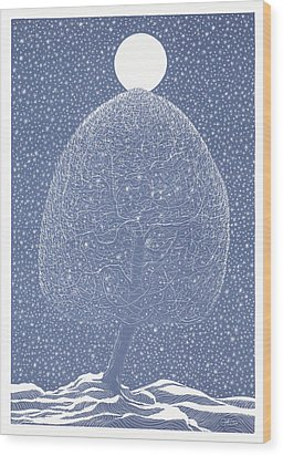 Blue Shadow Tree Wood Print