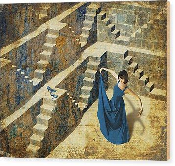 Blue Shoes Wood Print by Van Renselar
