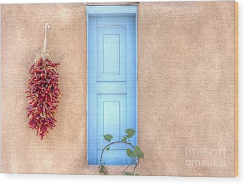 Blue Shutters And Chili Peppers Wood Print