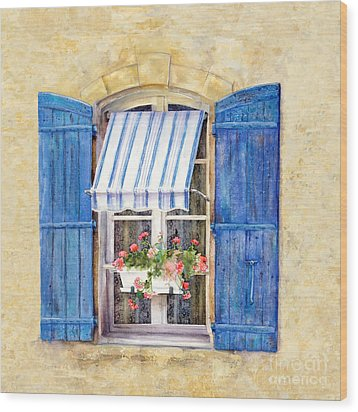 Wood Print featuring the painting Blue Shutters by Bonnie Rinier