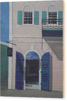 Blue Shutters In Charlotte Amalie Wood Print by Robert Rohrich