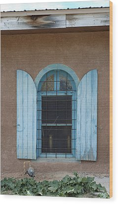Blue Shutters Wood Print by Jerry McElroy