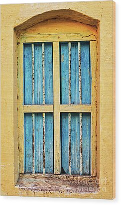 Wood Print featuring the photograph Blue Shutters by Tim Gainey