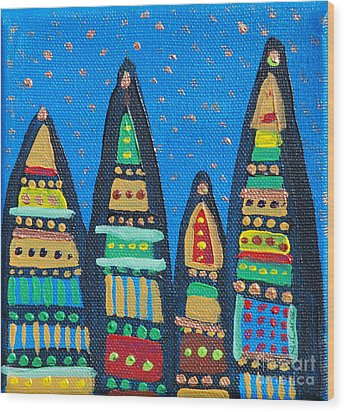 Blue Sky Catherdrals Wood Print by Maria Curcic