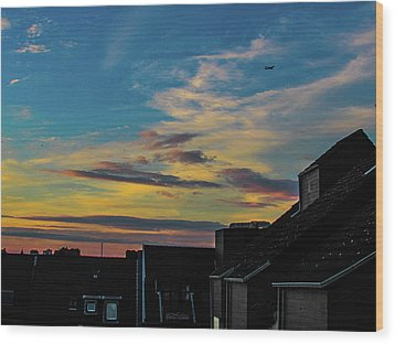 Blue Sky Colorful Sunset Wood Print by Cesar Vieira